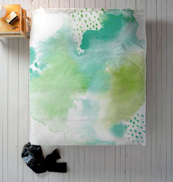 Blue Watercolor Duvet, Teal Duvet Cover, Queen Duvet, King Duvet, Twin Duvet, Watercolor Bedding, Aquamarine Duvet, Green Duvet, Mint Duvet