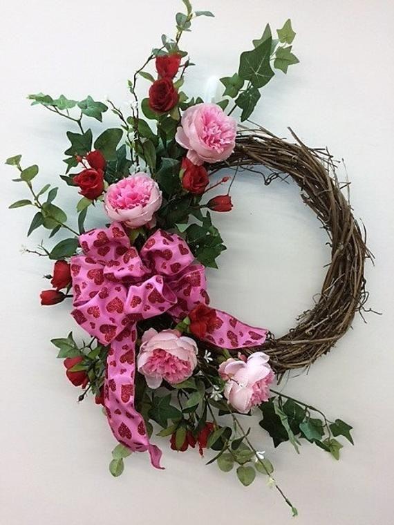 Mauve Rose Silk Floral Vintage Crescent Front Door Wreath Everyday Wreath Spring Wreath Dried Floral Wreath Vintage WreathReady to Ship