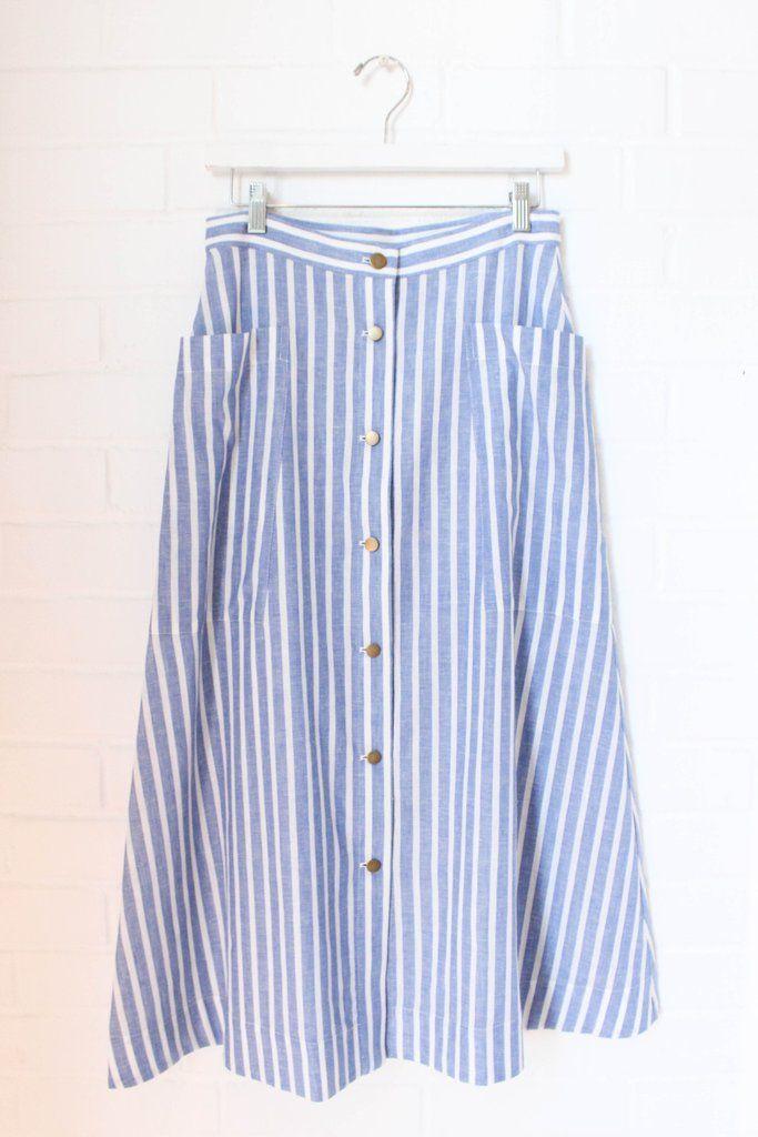 bresson skirt (blue & cream)