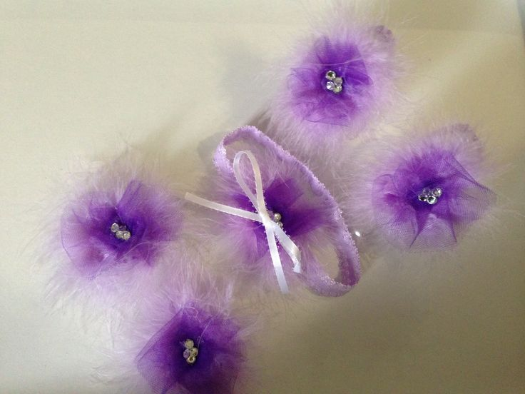 Barefoot sandals, hair clips and headbands with purple custom flowers ... Be sure to check out Nini Creations on Facebook