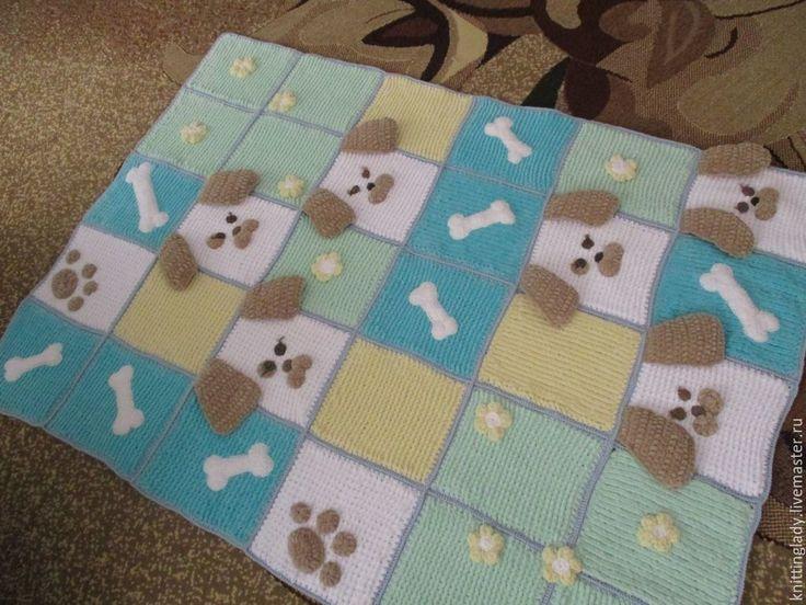 Купить Плед одеяло из квадратных мотивов. Плед крючком Дружок. - плед вязаный, плед детский