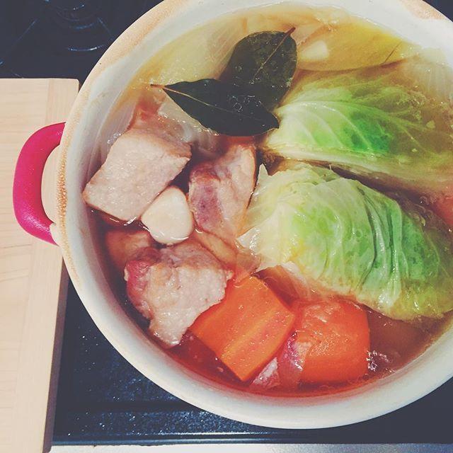 wadapan3○* この前友達がアップしていた ポトフに心を奪われ * 明日のお弁当は ポトフとサンドイッチ (もちろん晩ごはんにもポトフ) ○ #ポトフ #スープ #soup #汁物 #温まる #お昼ごはん #晩ごはん #煮込み料理 #おうちごはん #豚バラ #お弁当 #ごろごろ野菜 #野菜たっぷり