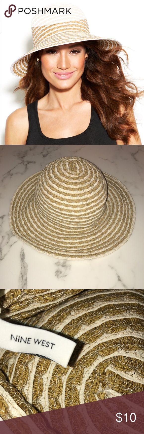 Nine West PACKABLE Striped Down-brim Sun Hat Incredibly convenient that you can squish this baby into your suitcase and/or beach bag! That feature has helped to keep it in good condition, as most sun hats show wear and age via kinks in the weaving, loss of shape, etc. This one is flexible! That said, price reflects the fact that it's one of my older sun hats. 👒 don't forget sunscreen! Nine West Accessories Hats