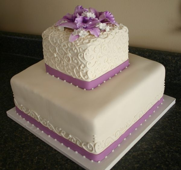 Small Outdoor Wedding Ideas On A Budget: 2 Tier Fondant Cake With Piping Detail And Purple Sugar