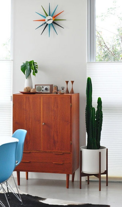 george nelson clock midcentury modern planter