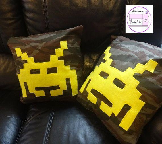 Retro Gaming Cushion pdf sewing pattern gift for gamer alien