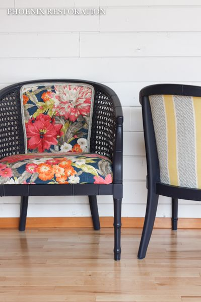 Pair of Faux Bamboo Cane Chairs {by: Phoenix Restoration} #phoenixrestoration http://www.phoenixrestorationseattle.com/before-after-faux-bamboo-cane-chairs-how-to-reupholster-a-chair/