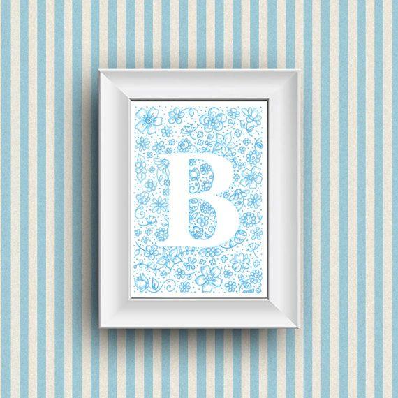 Nursery decoration. Gift idea, children bedroom wall decor with custom blue monogram name illustration. Dibujo flores