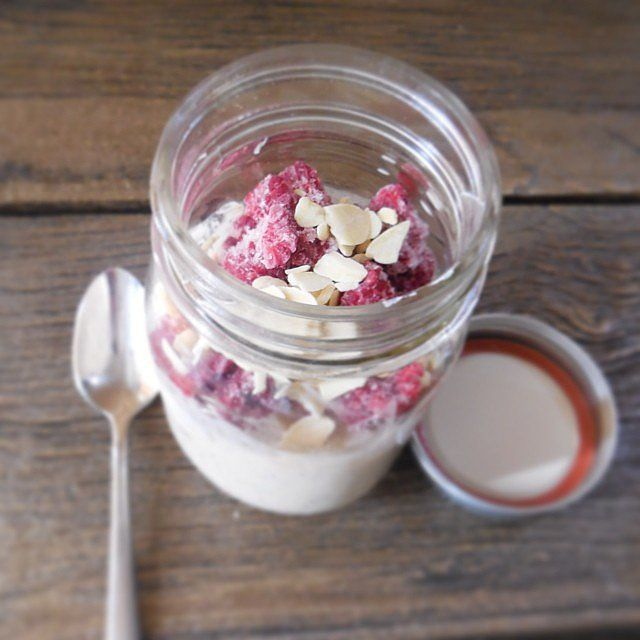 Mason jars + overnight oats = a busy girl's best friend!  To make this antioxidant-rich concoction, combine half a cup oats with half a cup of milk; add one cup of frozen raspberries and a handful of almonds to the mix. Before going to bed, stick the jar in the fridge, and then grab it when you're leaving for work the next day.  Source: Instagram user red_raspberries
