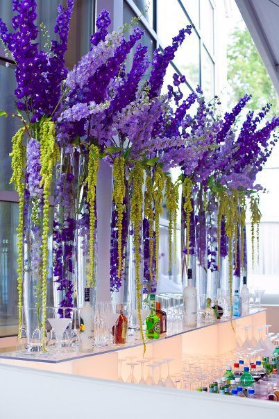 Love these royal purple larkspur with the lime green hanging amaranthis. We could use blue volkenfrieden delphinium or double dark blue larkspur with spanish moss!