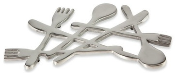 Utensils Metal Trivet - eclectic - oven mitts and pot holders - Bed Bath and Beyond
