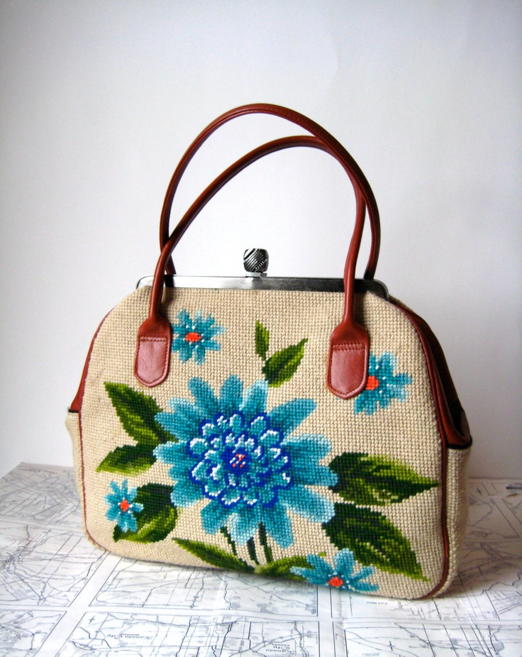 A little bit of nostalgia. Vintage needlepoint floral purse.