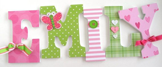 Wooden Nursery Wall Letters Pink and Green Butterfly by LetterLuxe