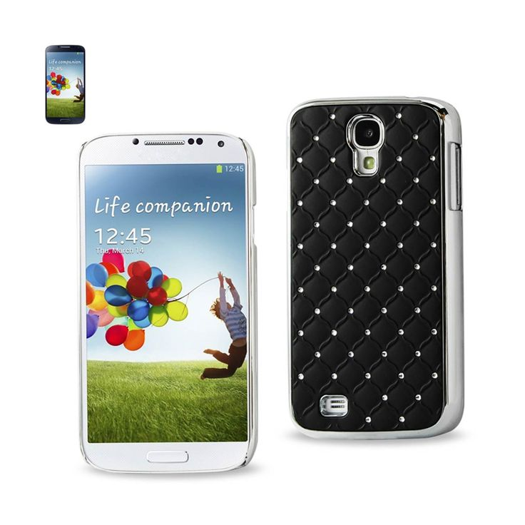 REIKO SAMSUNG GALAXY S4 JEWELRY DIAMOND STUDS METAL PLATED CASE IN BLACK