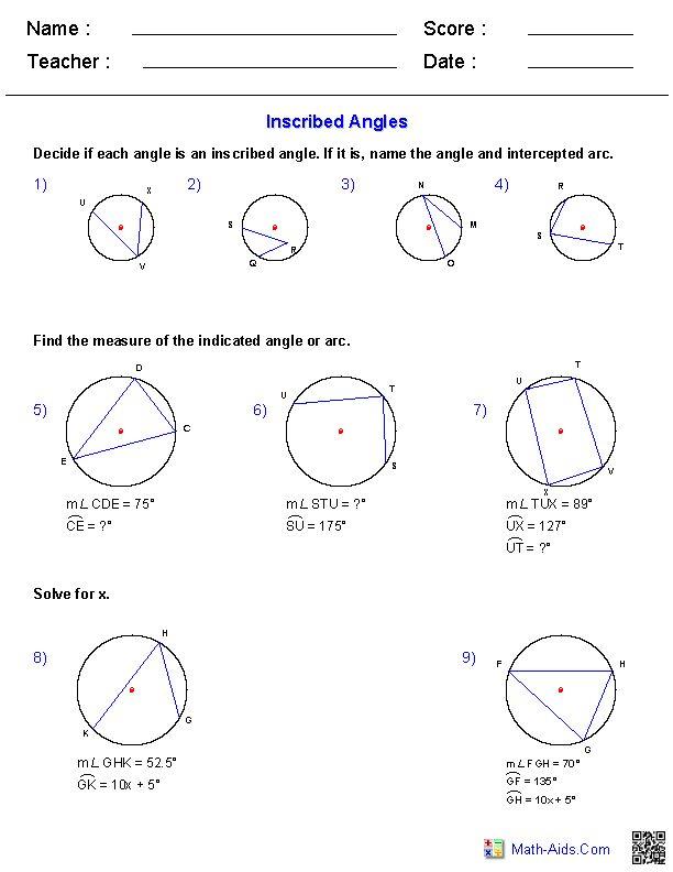 Angles And Arcs Worksheet