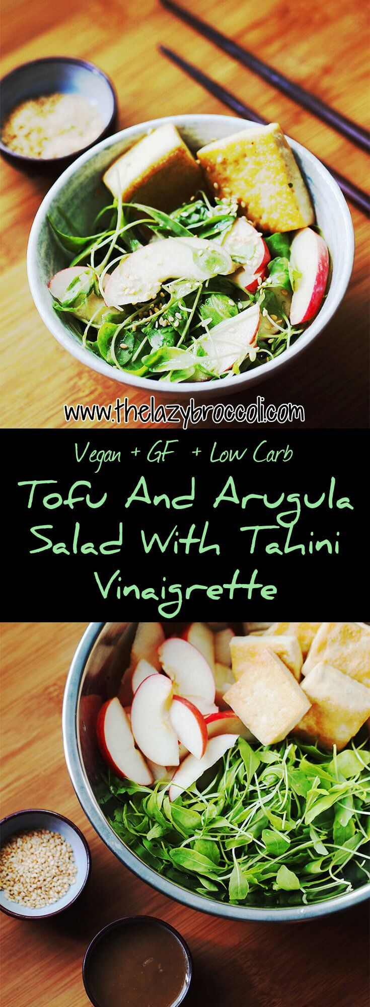 Easy, not boring, and delicious tofu + apples + arugula salad mix, topped with a tahini vinaigrette! Yum! #vegan #vegetarian #salad #arugula #tofu #apple #tahini #lowcarb #glutenfree