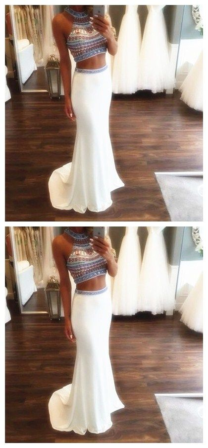 Two Pieces Beading Prom Dresses