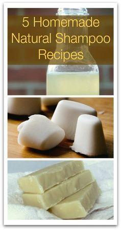 5 Homemade Natural Shampoo Recipes - Natural Holistic Life #natural #shampoo #DIY #homemade
