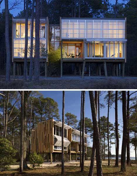 Casa de Praia Pré Fabricada em Palafitas por Kieran Timberlake