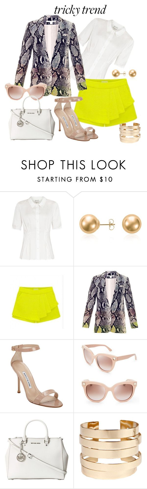 """Tricky trend"" by florete ❤ liked on Polyvore featuring Reiss, Blue Nile, Diane Von Furstenberg, Manolo Blahnik, Valentino, MICHAEL Michael Kors and Boohoo"