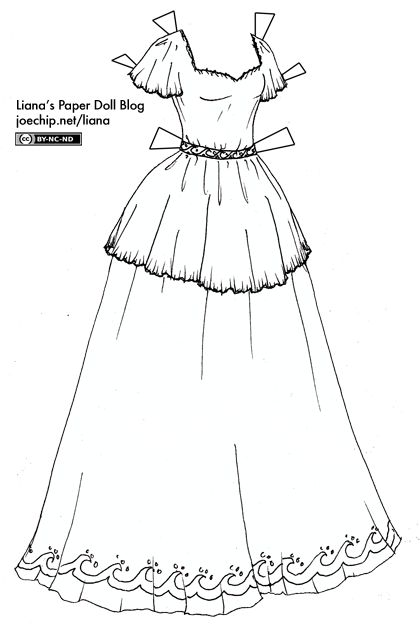 Black And White Short-Sleeved Princess Gown with Wave Patterns   Liana's Paper Dolls