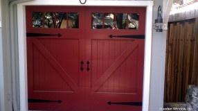 Red Garage Door with Board and Batten