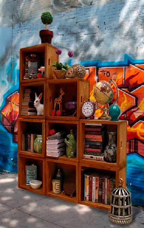 Librer a de madera r stica muebles de madera reciclada for Libros de muebles de madera