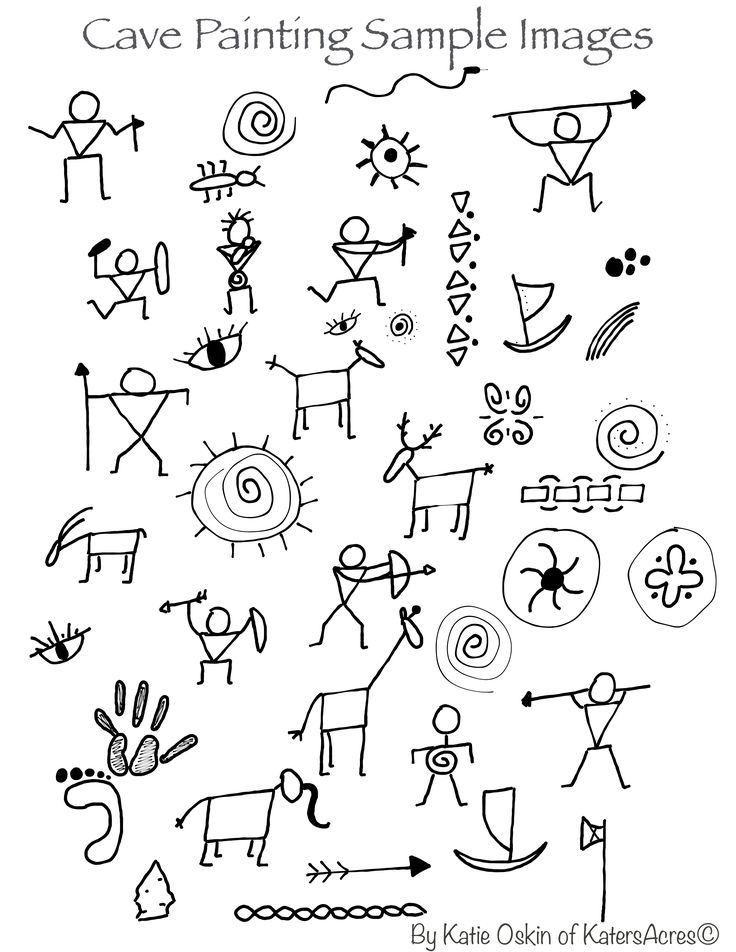 Cave Doodles Inspiration for Cave Paintings Background Tutorial by KatersAcres | Click for FREE project & PDF