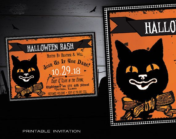 Printable Halloween Invitation Adult - Spooky Halloween Party Invitations Kids - Vintage Halloween Invitations - DIY Costume Party Invites