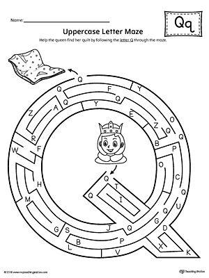 uppercase letter q maze worksheet audrey 2018 maze worksheet letter maze worksheets. Black Bedroom Furniture Sets. Home Design Ideas