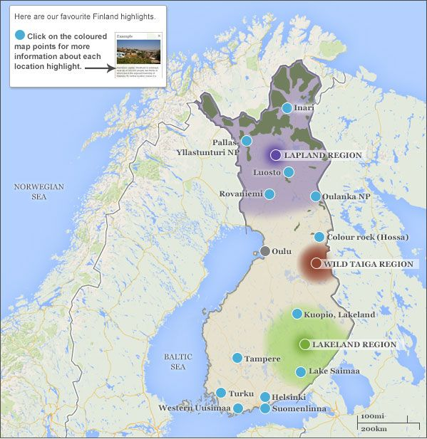 Finland map & highlights. Responsible travel guide to Finland with maps & highlights