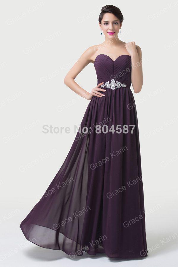 Grace Karin A-line Chiffon Swing Off Shoulder Gowns Party Prom Formal Vestido Dama De Honra Long Purple Bridesmaid Dresses J6190