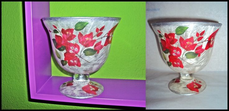 Decoupage on glass, red bougainvillea flower!