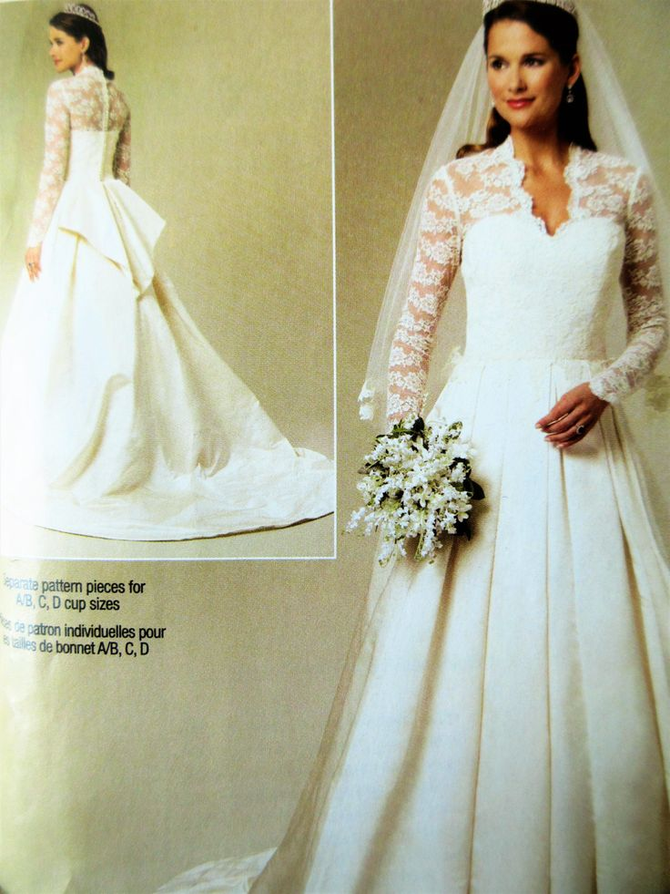 Wedding Dress Pattern, Butterick BP249, Bridal Gown, Royal Wedding Dress, Lace Sleeves, Bustle Wedding Dress, Wedding Gown, Bust 30.5 to 36 by sewbettyanddot on Etsy