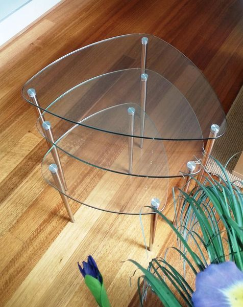 $70 Gumtree Glass and Chrome Nest of Tables Broadbeach Waters Gold Coast City image 1