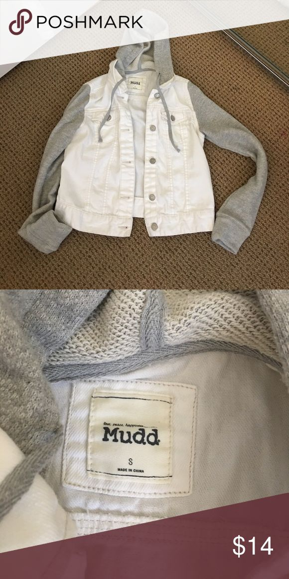 Mudd jean jacket hoodie Juniors small MUDD white jean jacket hoodie.  The hoodie is gray and so are the sleeves.  The sleeves are cotton and the jacket is a jean material.  Super cute and durable.  In excellent condition.  No stains and non-smoking home. Mudd Jackets & Coats Jean Jackets