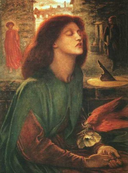 Autore: Dante Gabriel Rossetti Nome: Beata Beatrix Data: 1863 Tecnica: Olio Luogo: Londra Descrizione: Emerge la grande tradizione letteraria molto amata dai romantici. L'immagine di Beatrice ricorda la moglie di cui era molto innamorato.