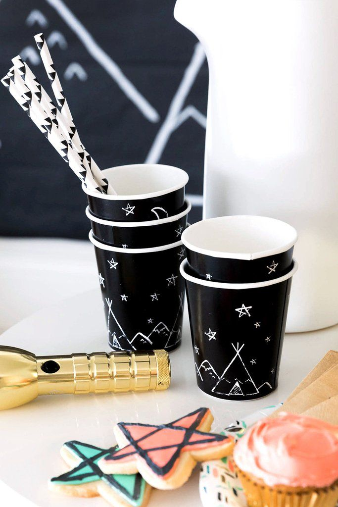 Teepee party cups | harlowandgrey.com #kids #party #moderncamp