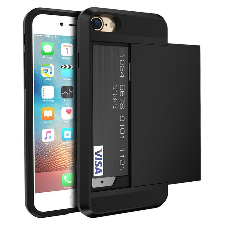 New Hybrid Tough Case For iPhone 7 For iPhone 7 Plus TPU + Hard PC With Slide Storage Card Holder Armor Cover For iPhone 7 Plus
