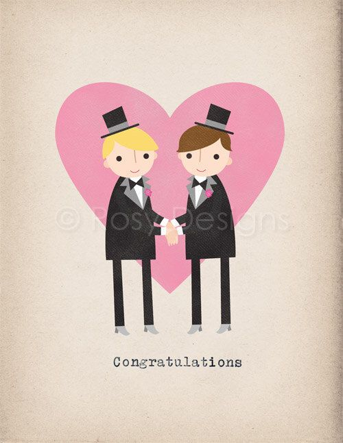 Two Grooms - Congratulations - Note Card by rosydesignsonline on Etsy https://www.etsy.com/listing/78919068/two-grooms-congratulations-note-card