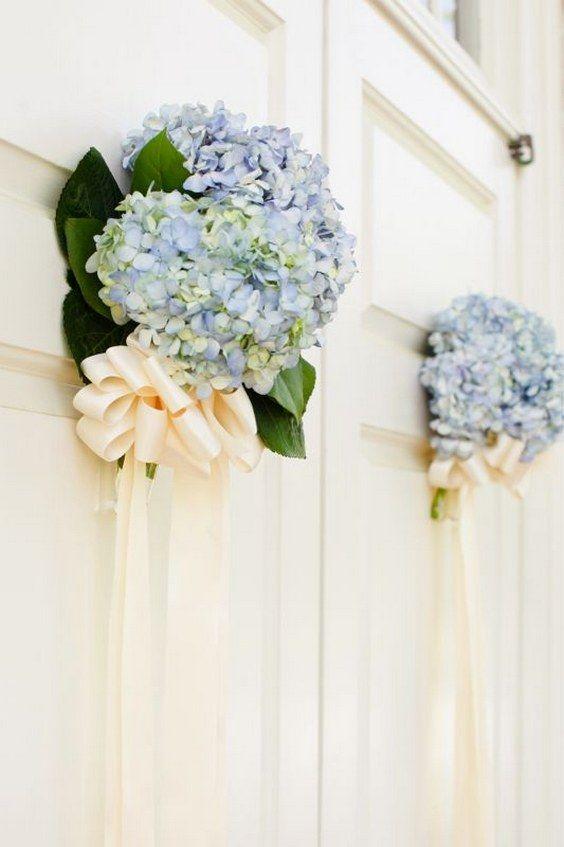 creative idea to decorate even the doors with fresh flowers / http://www.himisspuff.com/beautiful-hydrangeas-wedding-ideas/4/