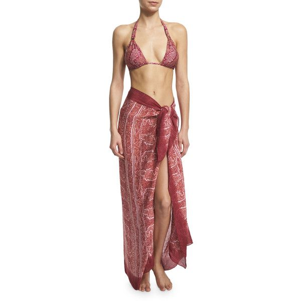 Vix Printed Cover-Up Sarong ($68) ❤ liked on Polyvore featuring swimwear, cover-ups, boho, swimsuit cover up, vix swimwear, bathing suit cover ups, sarong cover up and swimsuit cover ups