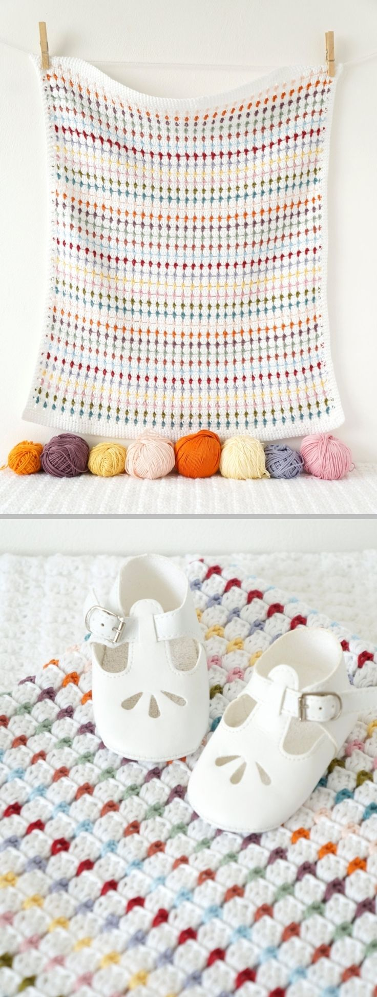 Simple block stitch baby blanket ~ Main color white (DC cluster rows) with 12 accent colors (SC rows); border worked in SC. . . . . ღTrish W ~ http://www.pinterest.com/trishw/ . . . . #crochet #afghan #throw