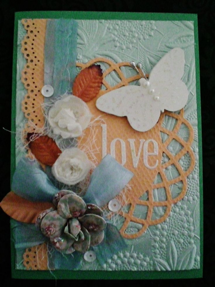Challenge- to create texture with peach bubble textured cardstock. Teamed with blue patterned paper. Added texture with wound dressing from the chemist, leaves, white handmade flowers and sequins.   fbk-kayskards
