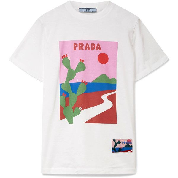 9f36209b5 Prada Printed cotton-jersey T-shirt ($400) ❤ liked on Polyvore featuring  tops, t-shirts, multi color t shirts, white top, white embellished top,  white tee ...