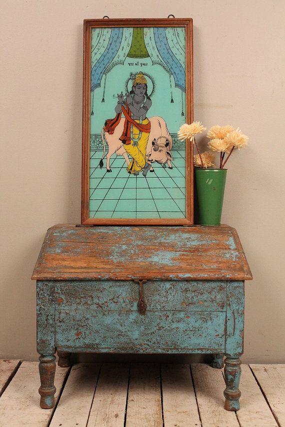 Vintage Indian Reverse Painted Krishna Glass Panel Wood Framed Artwork