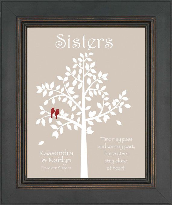 SISTERS gift print - Personalized gift for your Sister - Wedding Gift for Sister - Christmas Gift -Birthday Gift- Colors can be changed on Etsy, $15.00