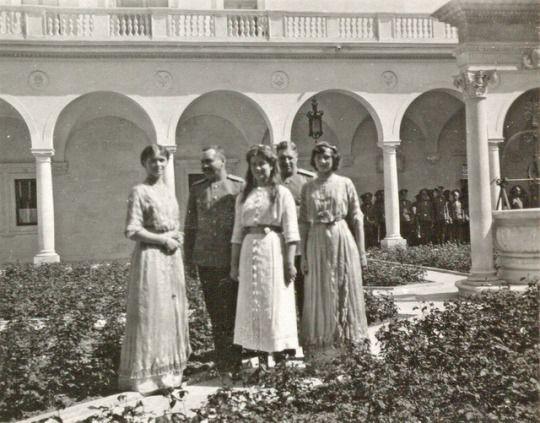 Olga, Maria and Tatiana Romanov, Livadia, April, 1914