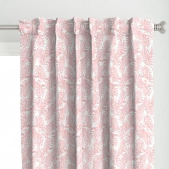 Tropical Curtain Panel Palm Print Pastel Pink By Charlottewinter