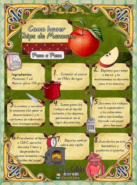 Tartas, Galletas Decoradas y receta: CHIPS DE MANZANA